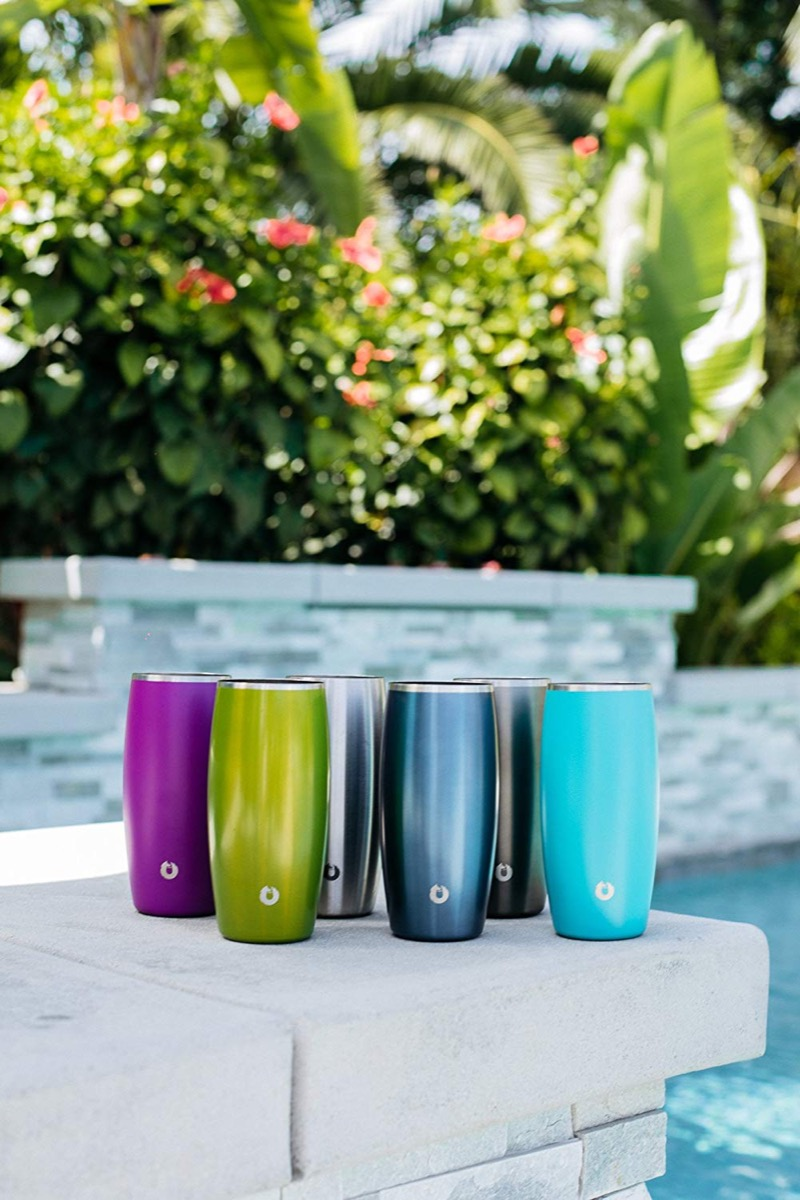 colorful beer glasses outdoors