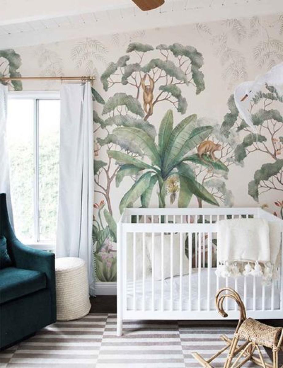 Nursery with jungle wallpaper