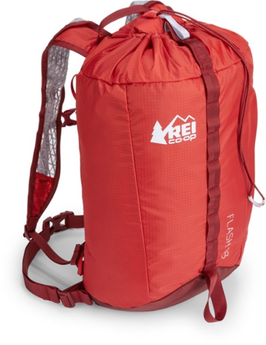 red REi backpack on white background