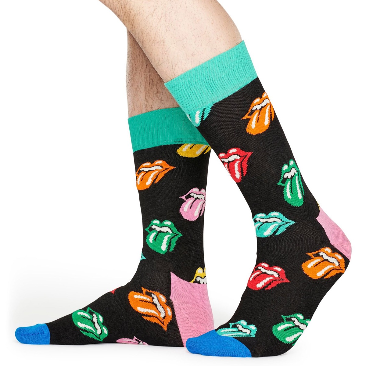 socks with rolling stones logos