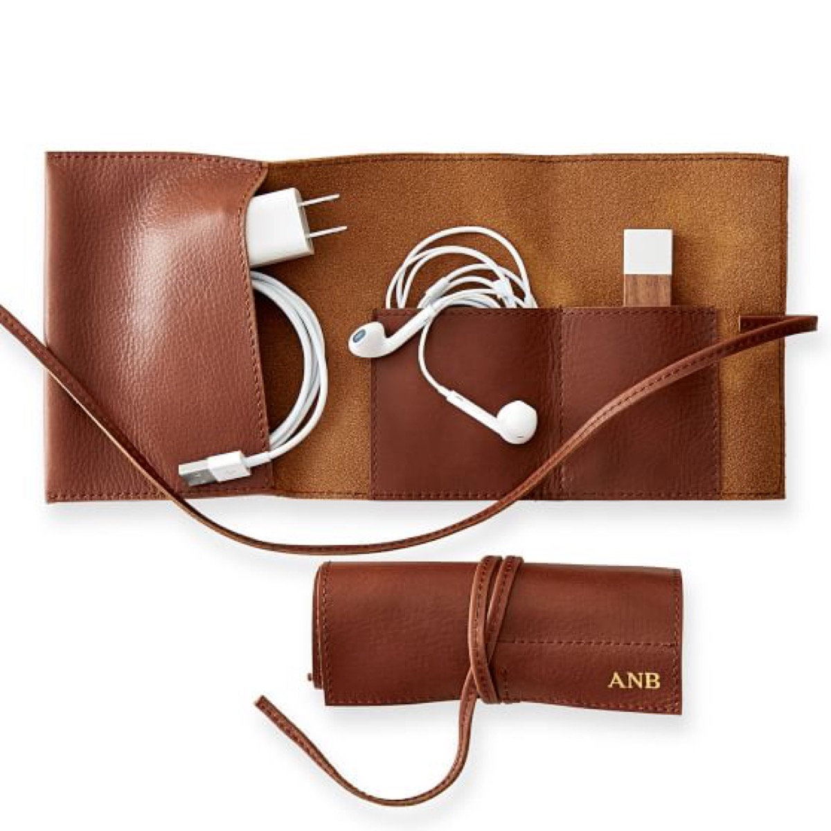 leather charger holder, open and closed