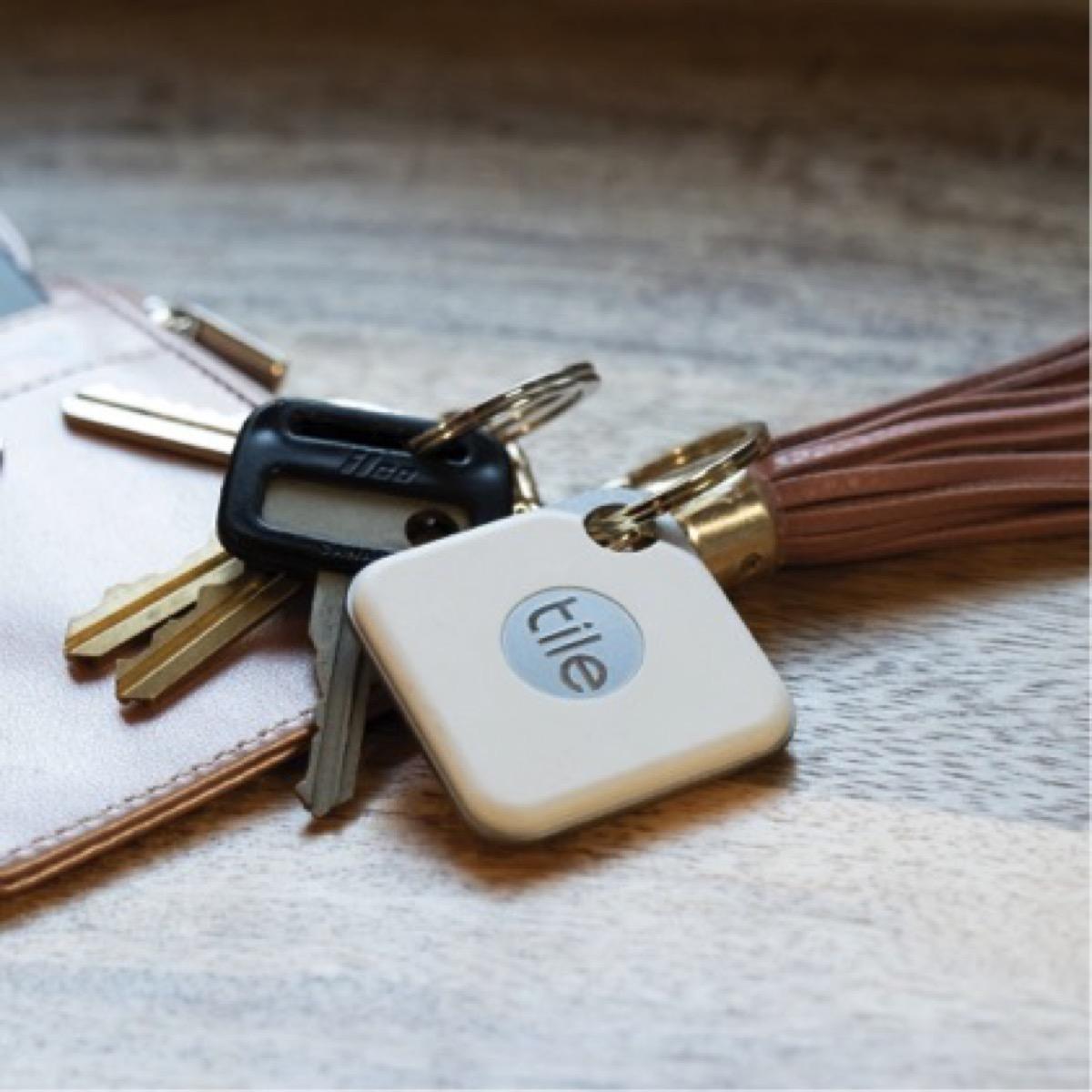 Tile with keys on keychain
