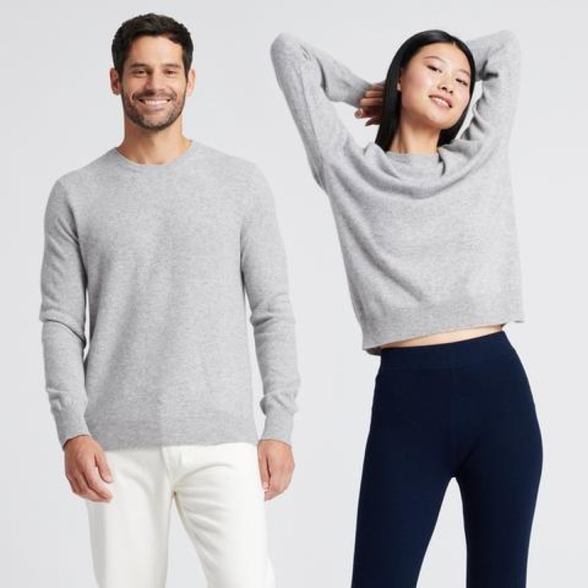 man and woman wearing gray cashmere sweaters