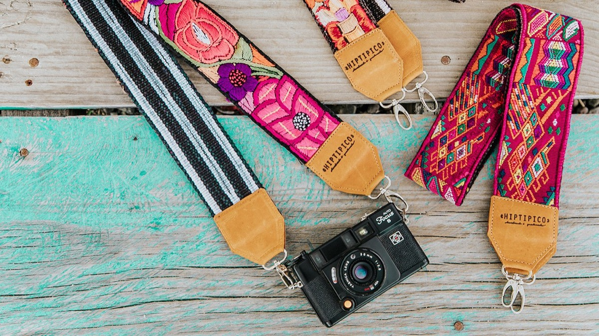camera with embroidered strap