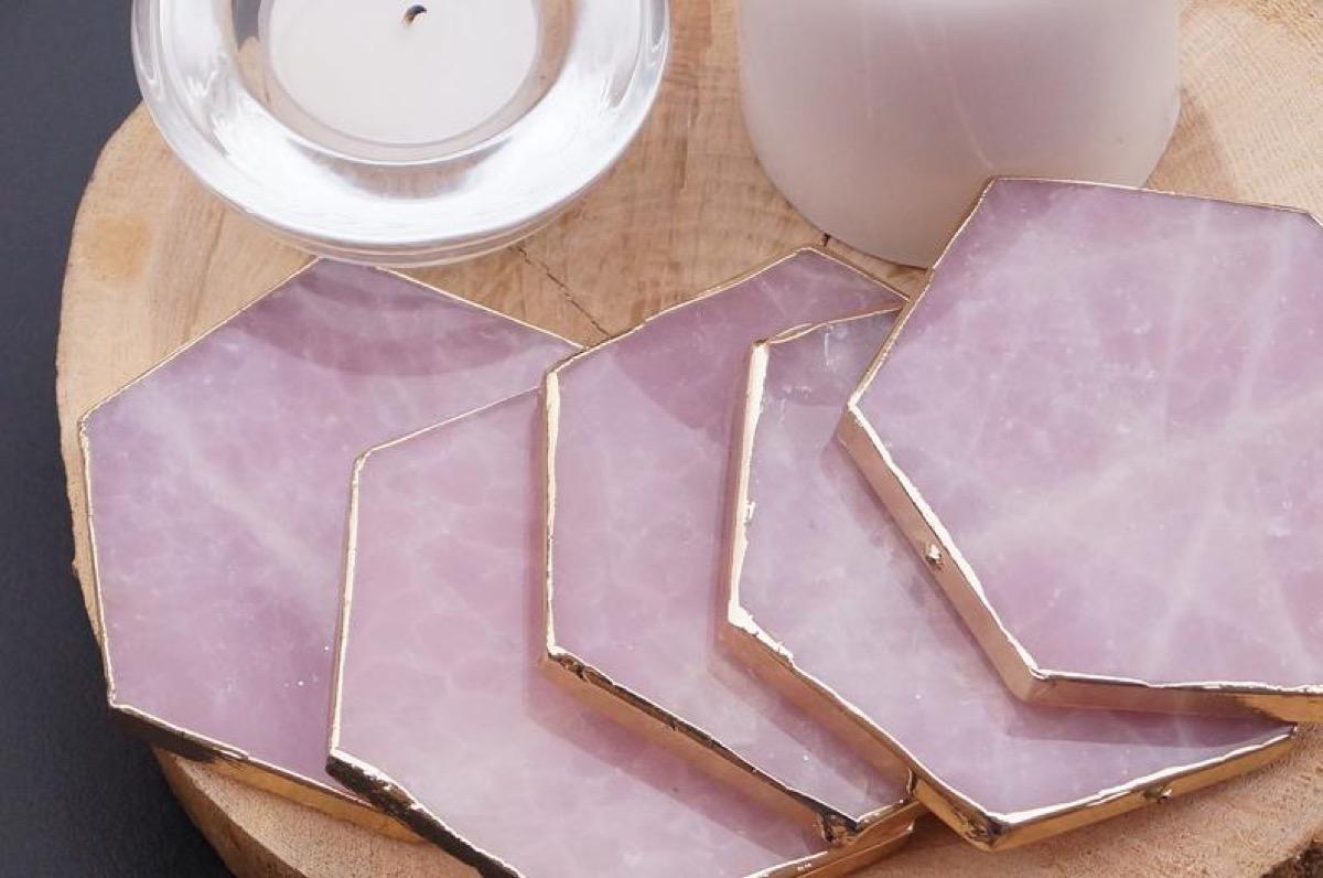 pink rose quartz hexagonal coasters