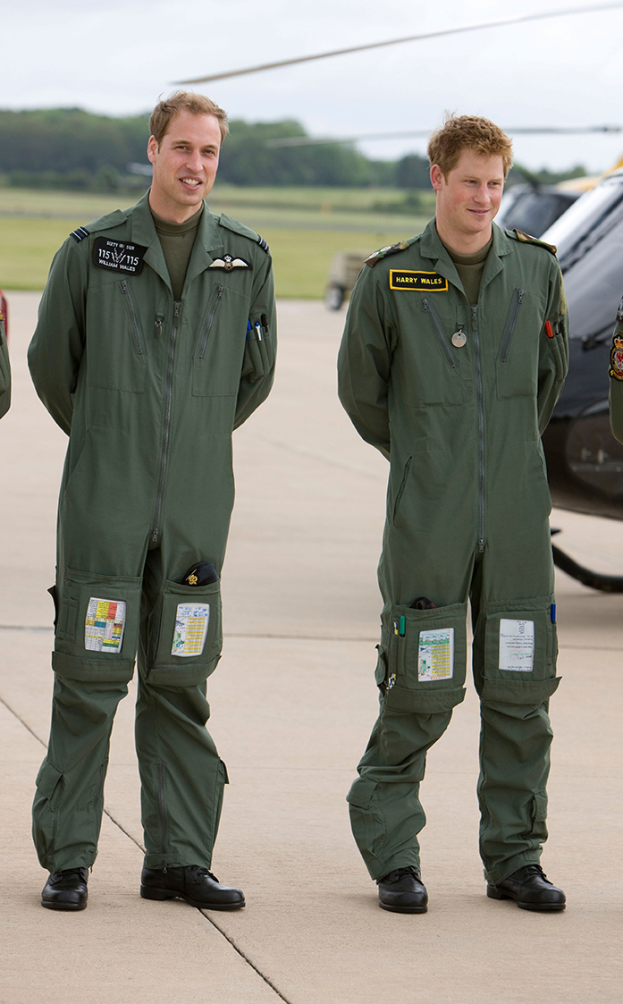 Britain's Prince William and Prince Harry at RAF Shawbury where they trained to be helicopter pilots in 2009
