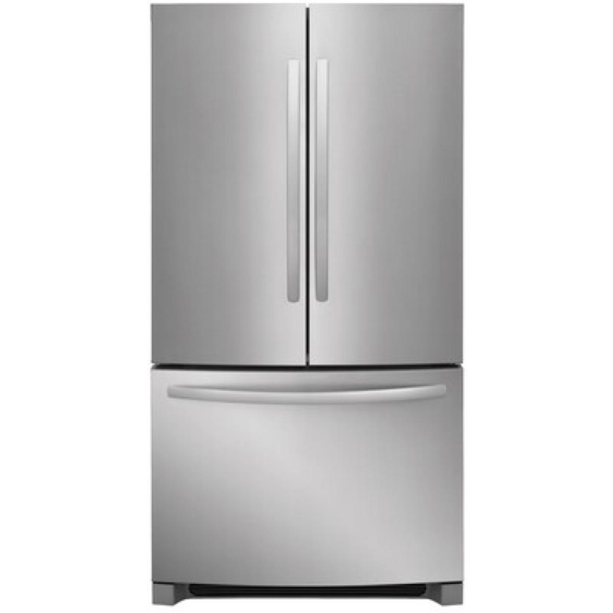 double door fridge white background
