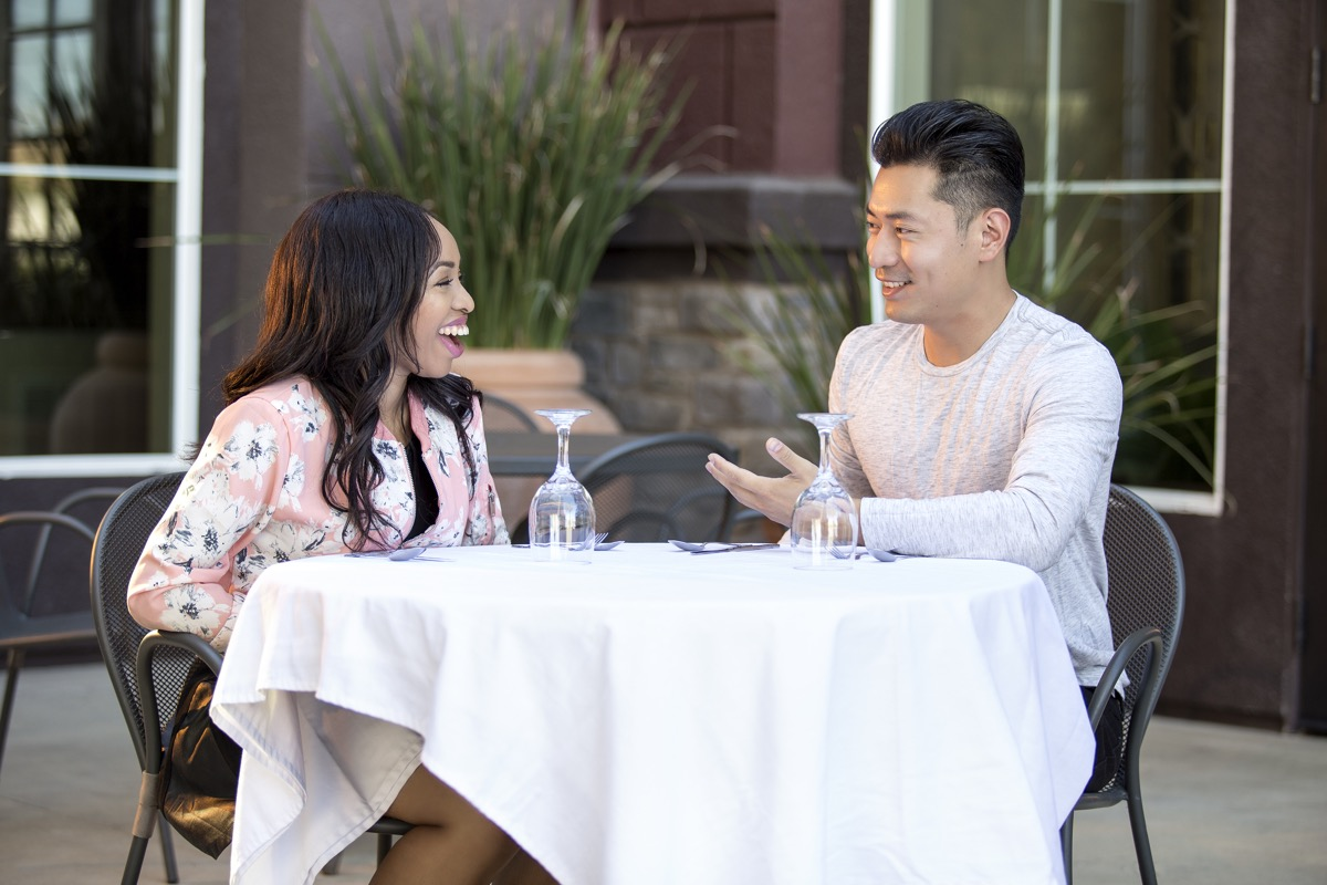 Asian male on an outdoor date with a black female