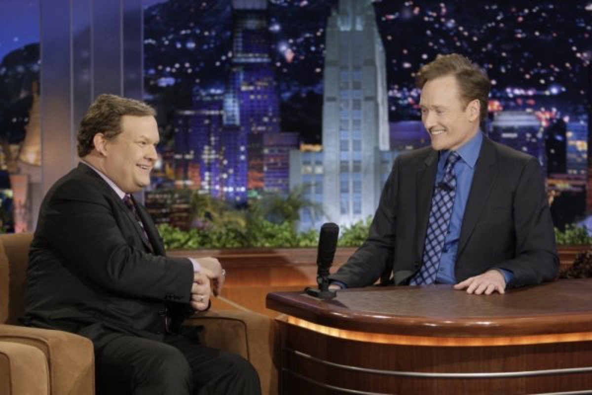 Andy Richter and host Conan O'Brien on the final episode of The Tonight Show with Conan O'Brien