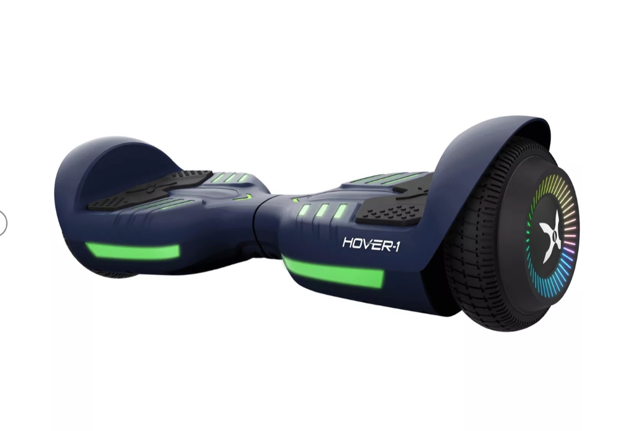 black hoverboard with green lights
