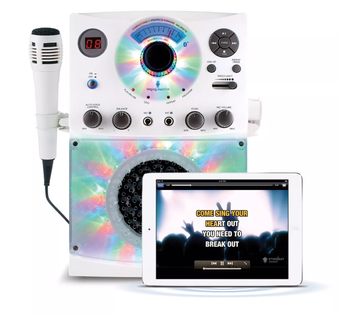 white karaoke system with microphone
