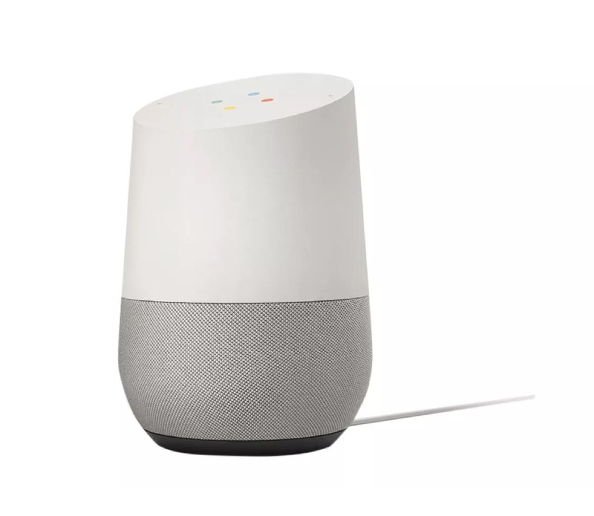 google home gray and white smart speaker