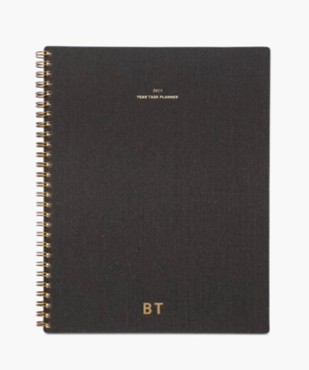 2020 task planner with BT initials on cover