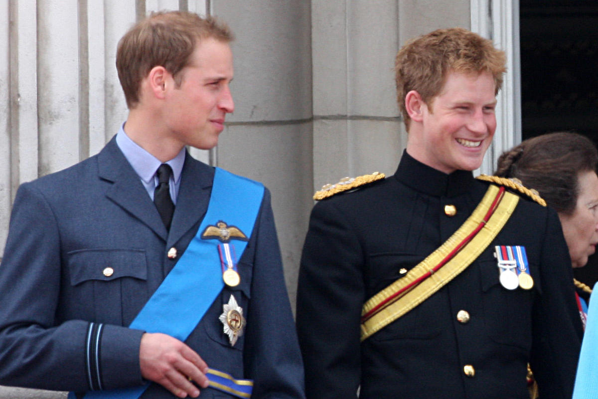 Prince William of Wales, Prince Harry of Wales attend the Trooping The Colour ceremony marking the Queen Elizabeth II's birthday at the Horse Guards Parade in London, United Kingdom, 13 June 2009. Thousands of people have turned up to watch the parade dating back to the 17th century.