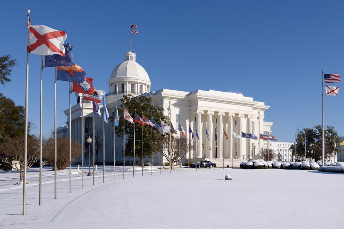 The Alabama capitol house covered in snow