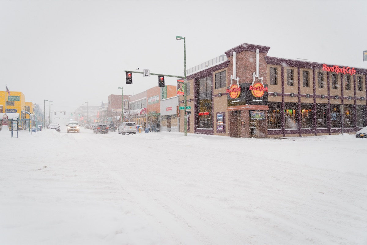 Alaska town covered in snow