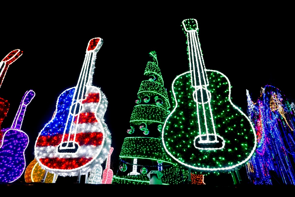 Lit-up guitars in Austin Texas for Christmas