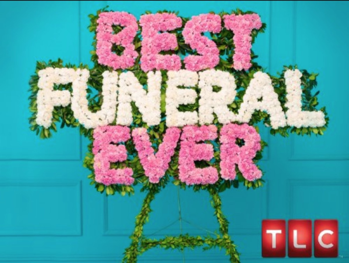"""words """"best funeral ever"""" written in pink and white flowers on green background"""