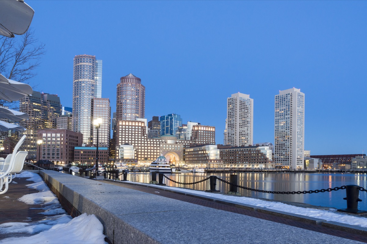 Boston waterfront covered in snow in the winter