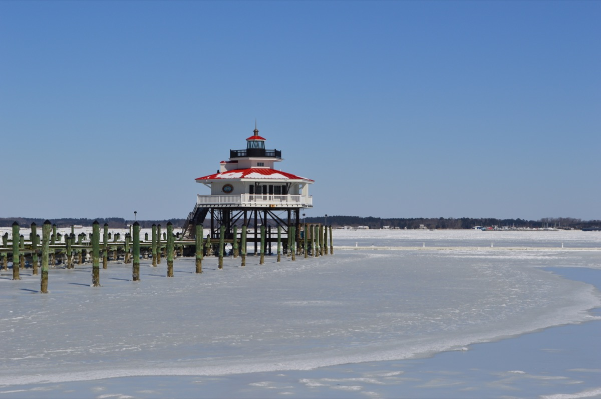 A frozen beach in Maryland in the winter