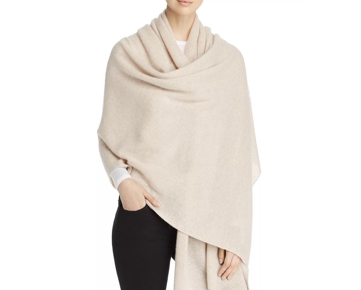 white woman in cream cashmere wrap