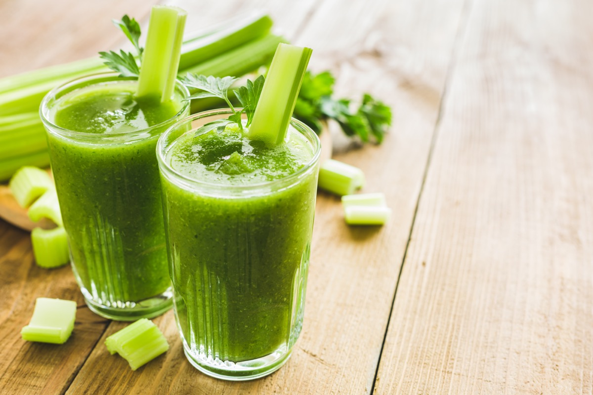 Two glasses of green celery juice