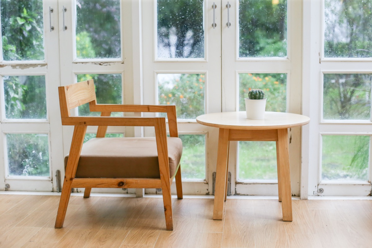 chair and table in front of window