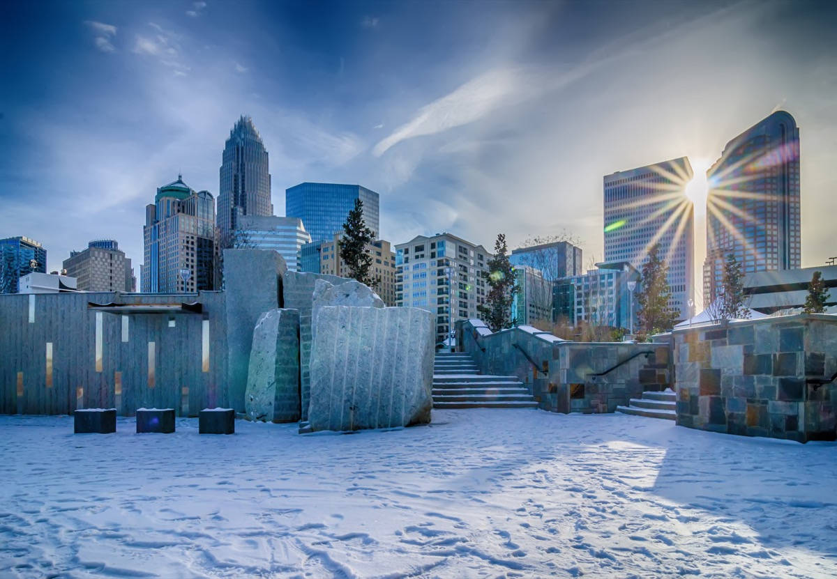 Charlotte North Carolina in the winter