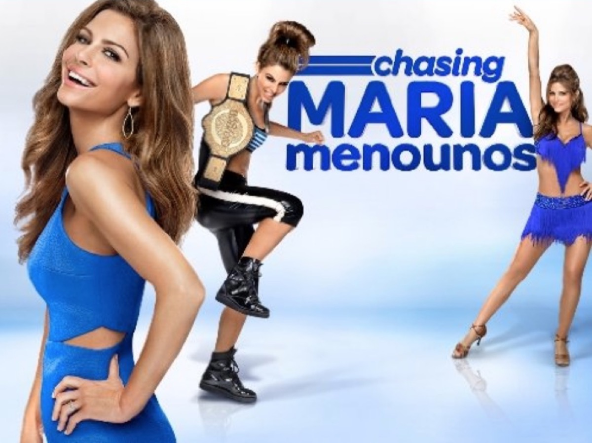 """maria menounos exercising, dancing, and posing in blue clothing with the words """"chasing maria menounos"""" over her"""