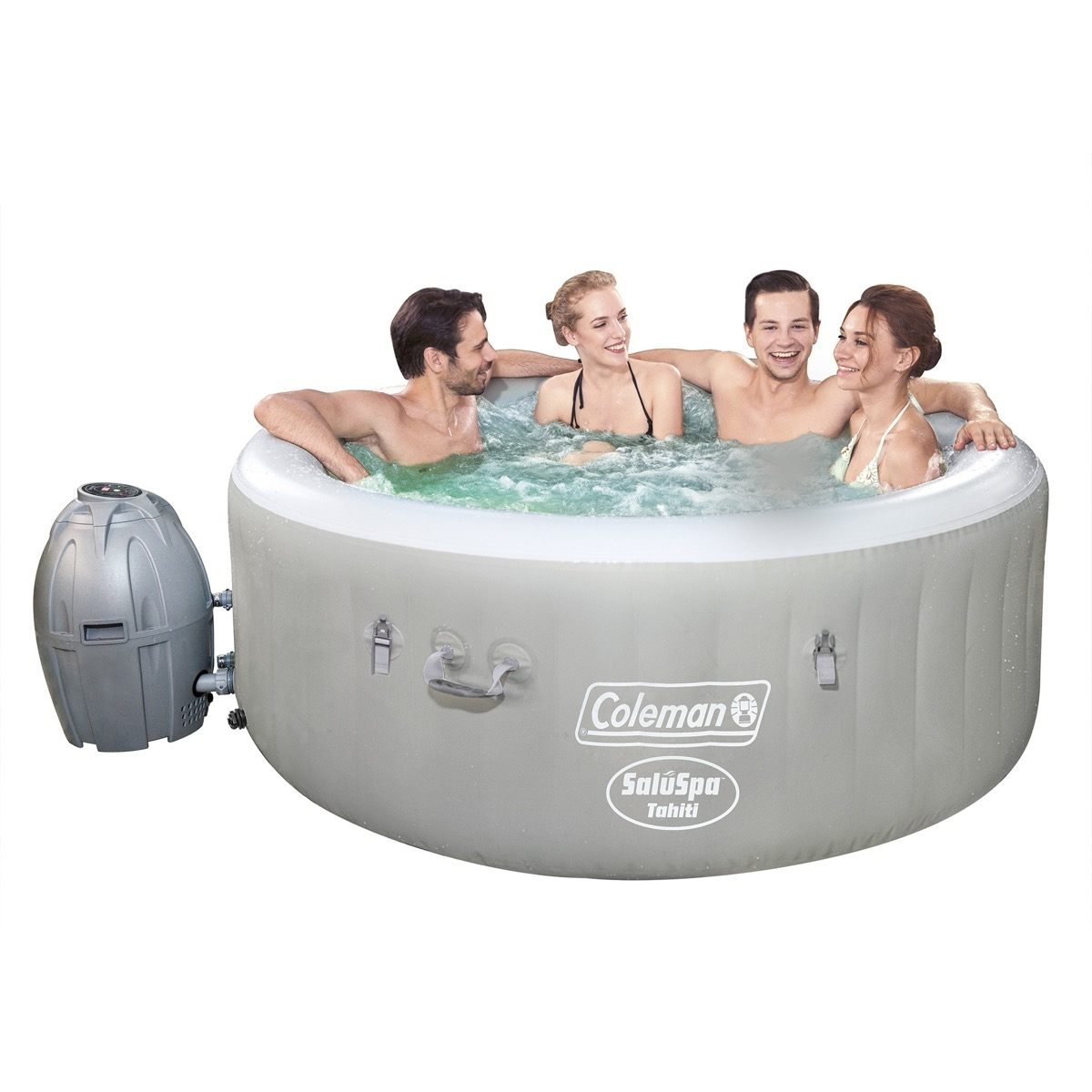 four people in an inflatable hot tub