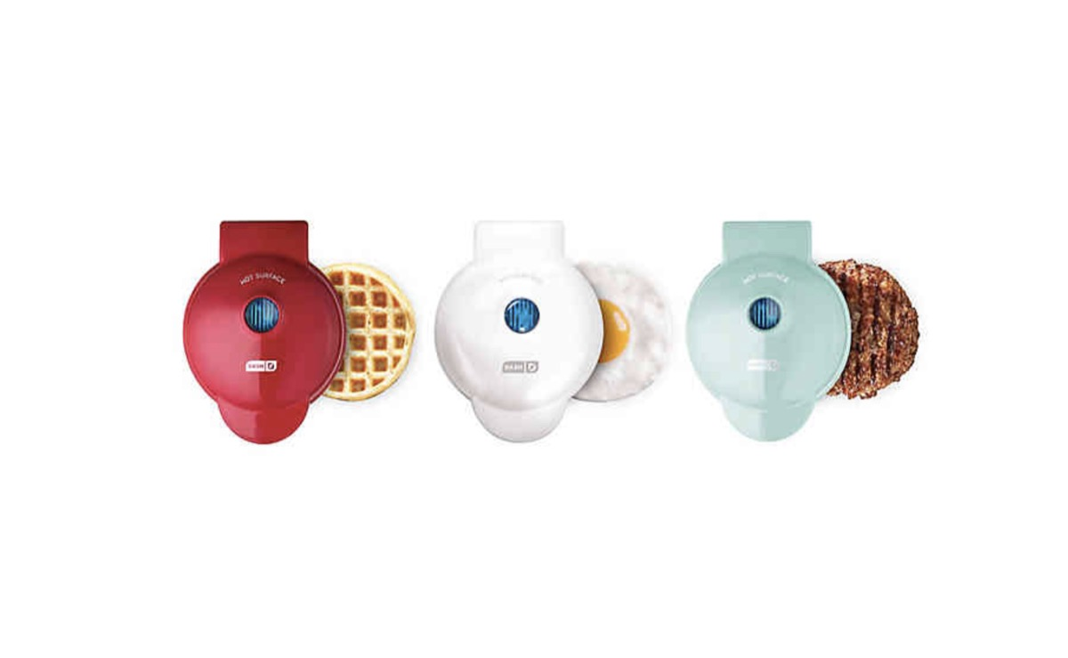dash mini waffle maker in red, white, and green