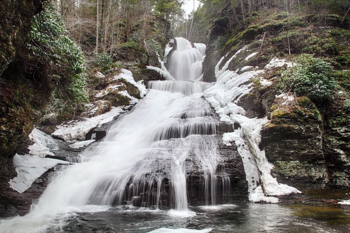 Frozen waterfall in Pennsylvania near Delaware