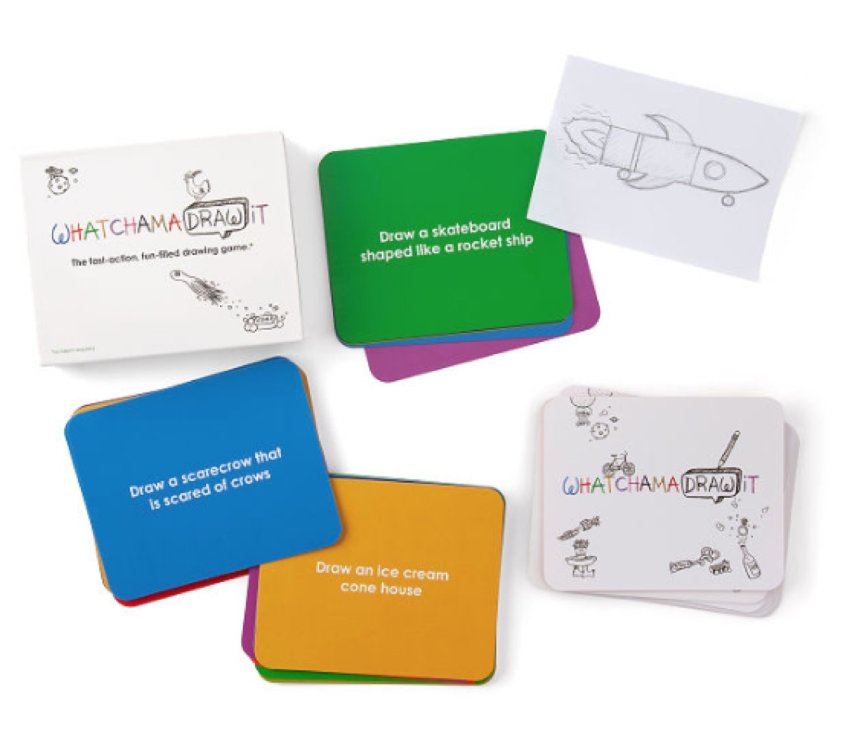 stacks of colorful cards and white cards with drawings on them