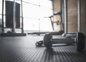 dumbell and rope on gym floor