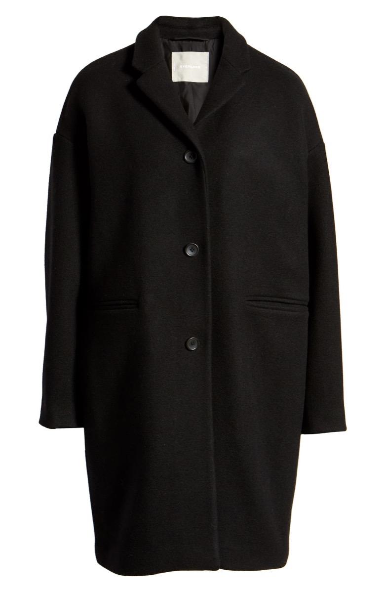 black three-button coat