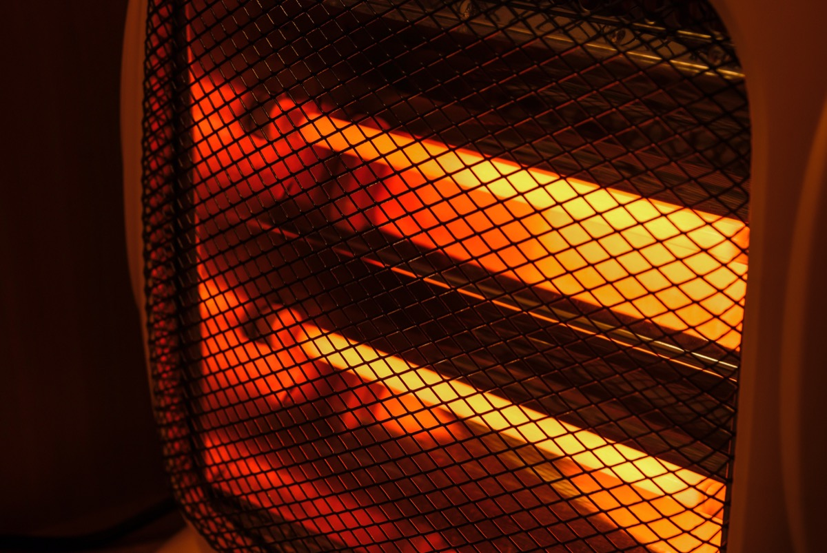 electric heater working in dark room