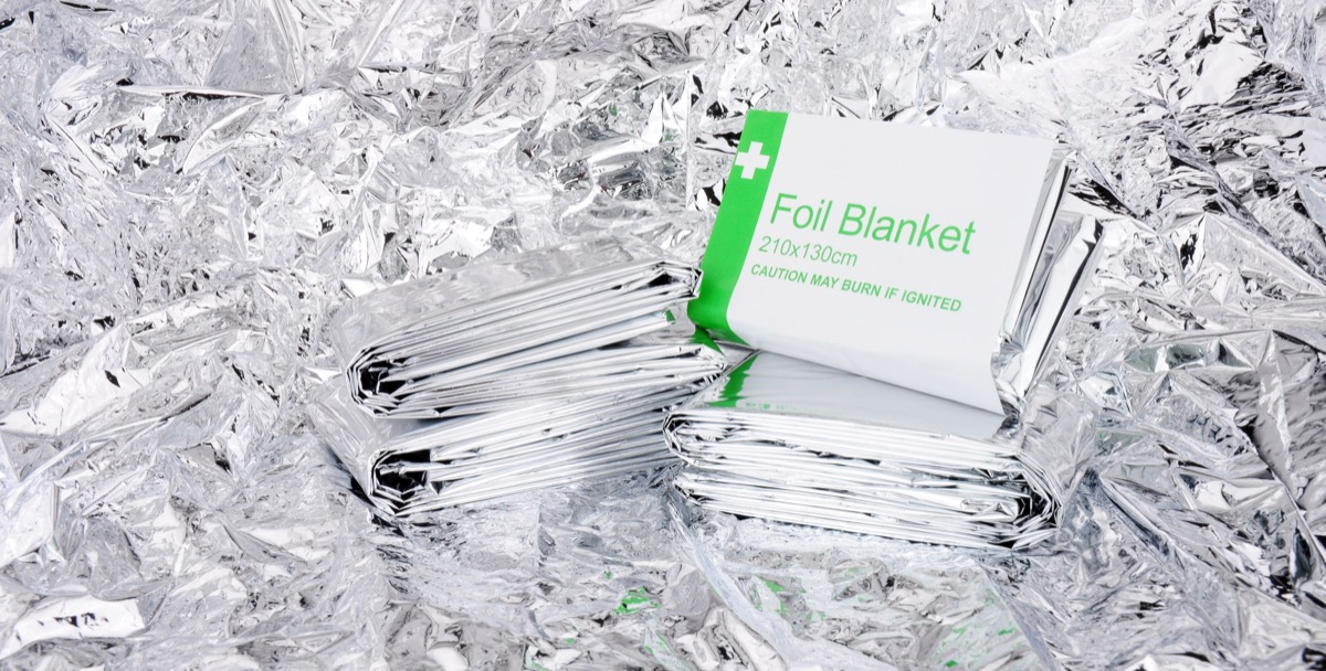 emergency thermal blankets in a row