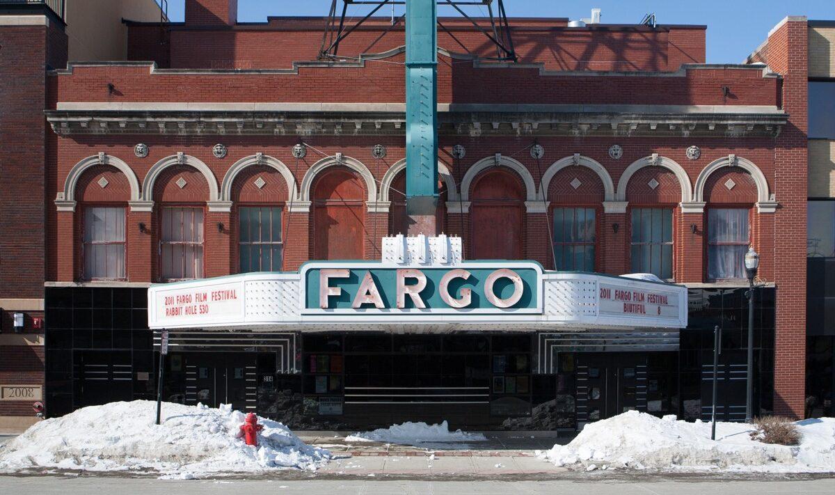 Snow outside the Fargo theatre in North Dakota