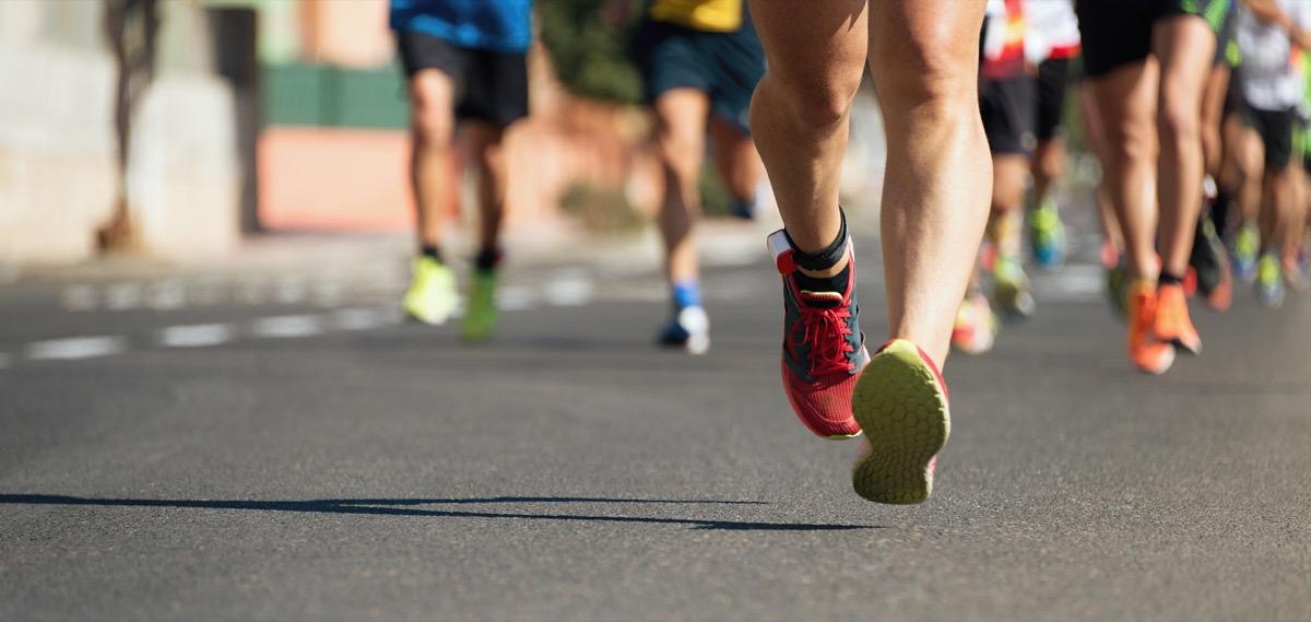 feet of marathon runners