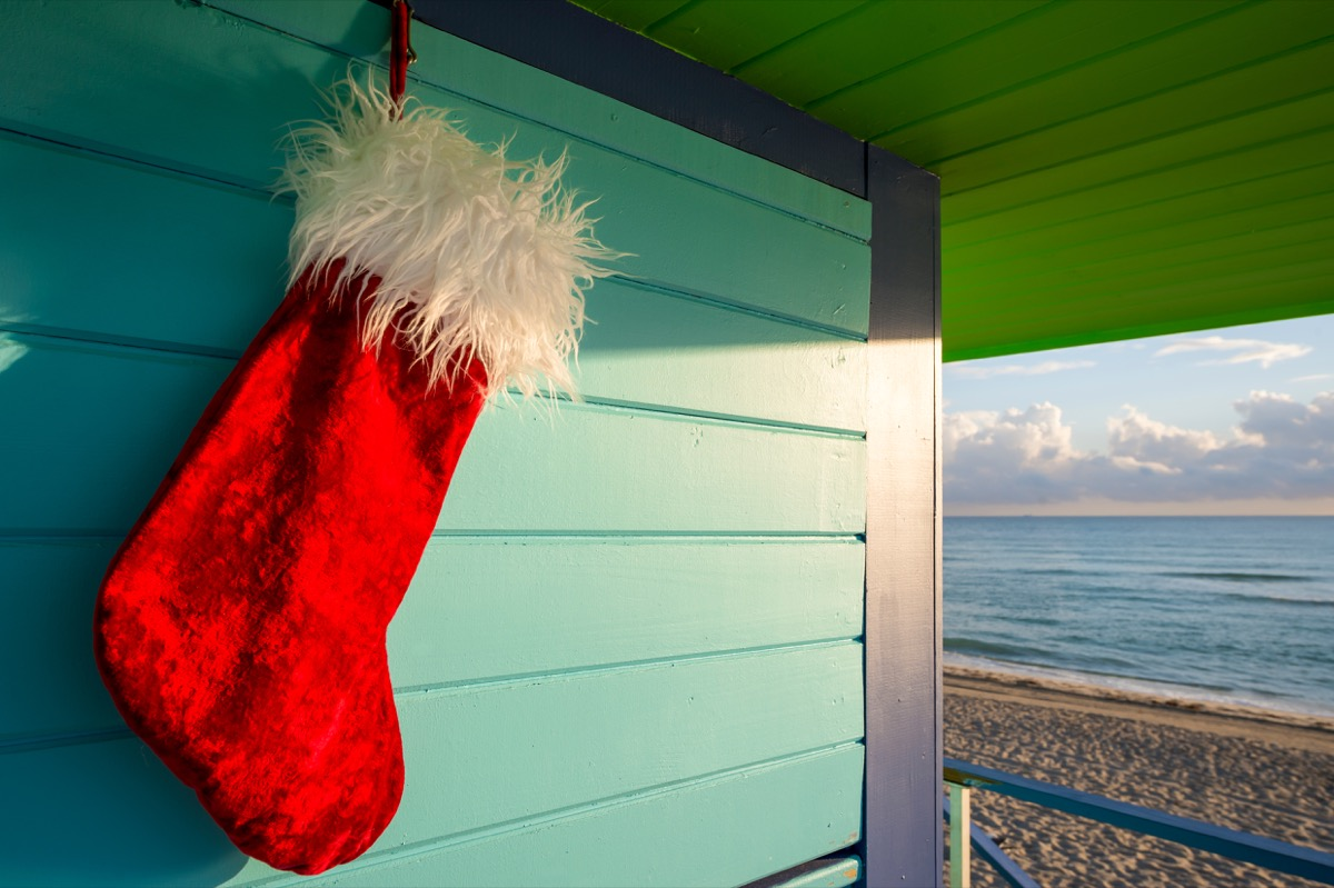 A Christmas stocking hanging in Florida in the winter