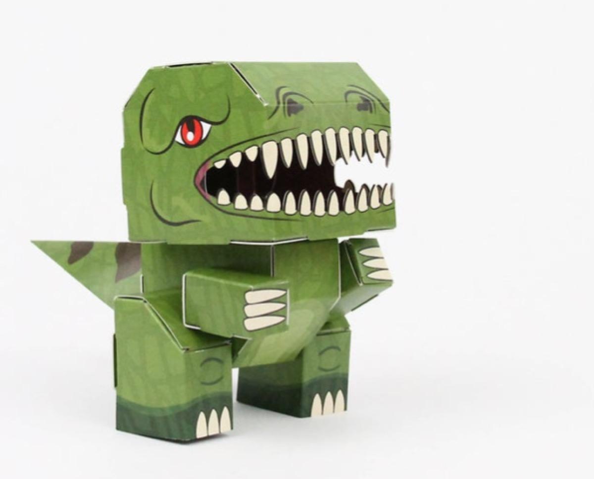 foldable green cardboard dinosaur