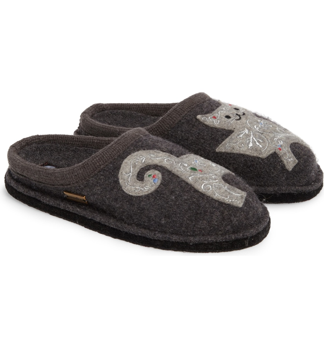 gray slippers with cats on them
