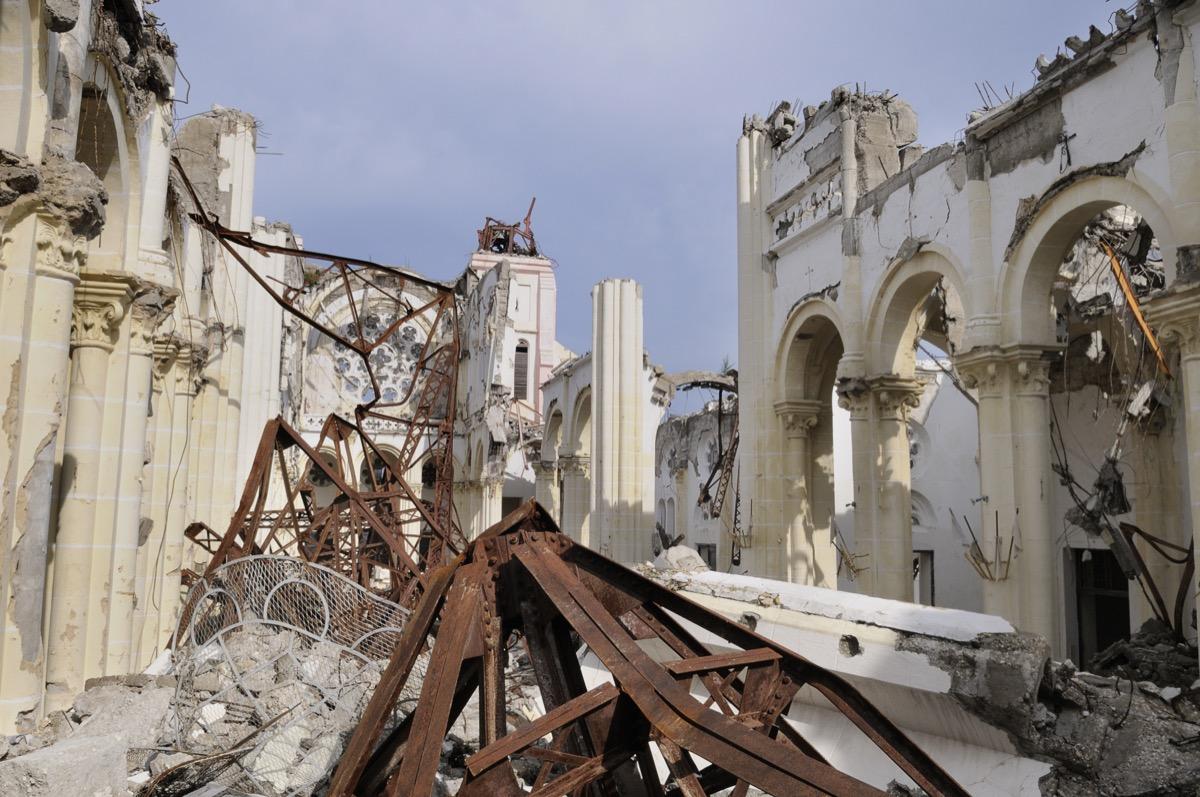 haiti earthquake aftermath with a broken church
