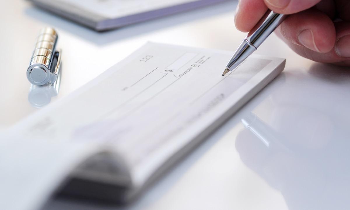 hand writing on checkbook
