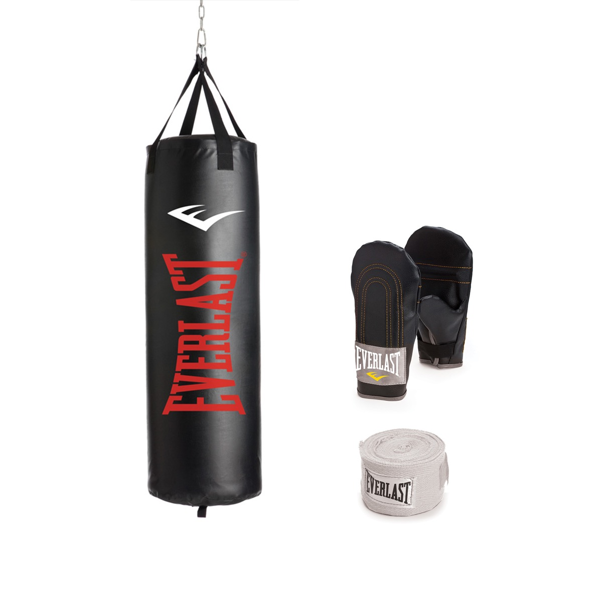 heavy bag kit with two black boxing gloves and white strap