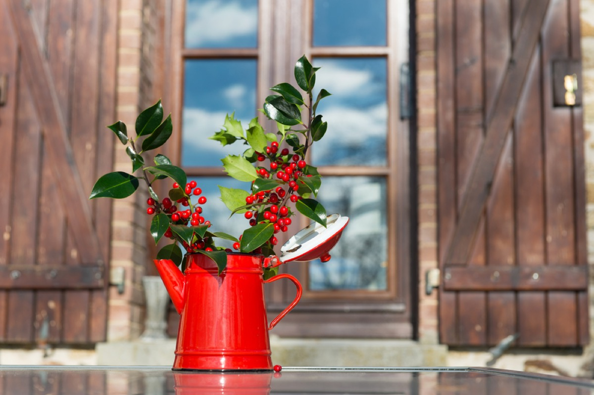red pitcher full of holly leaves and berries
