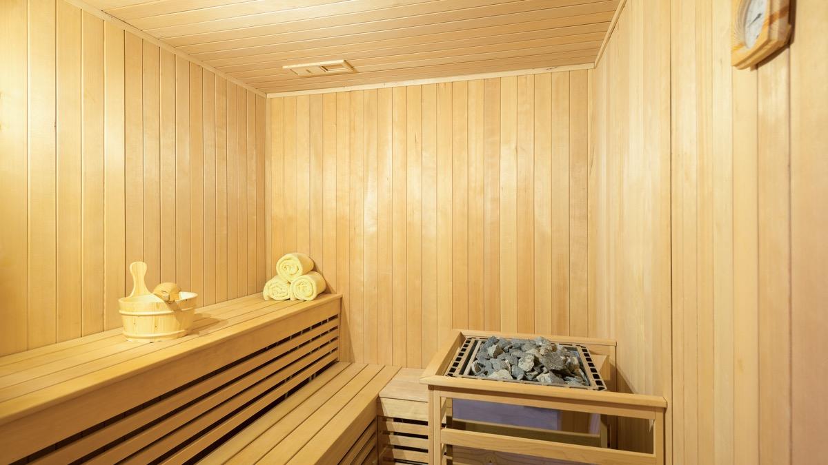 interior of wooden sauna