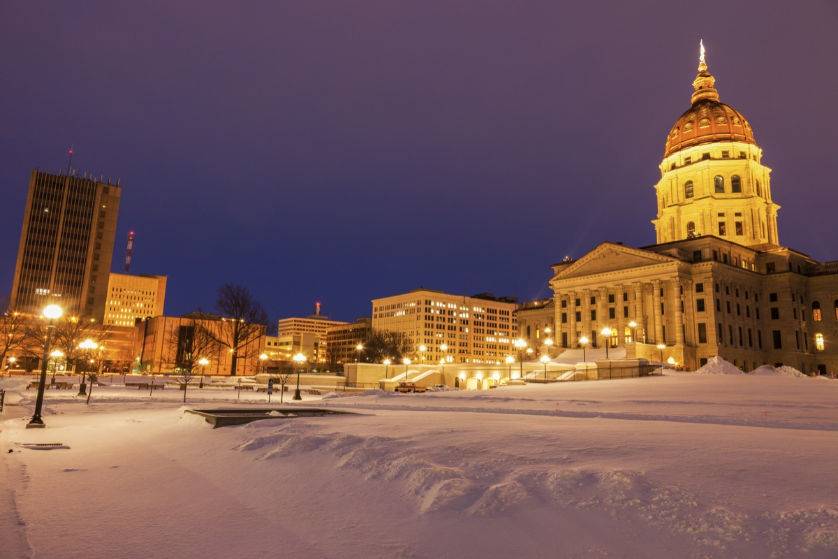 Kansas state building covered in snow