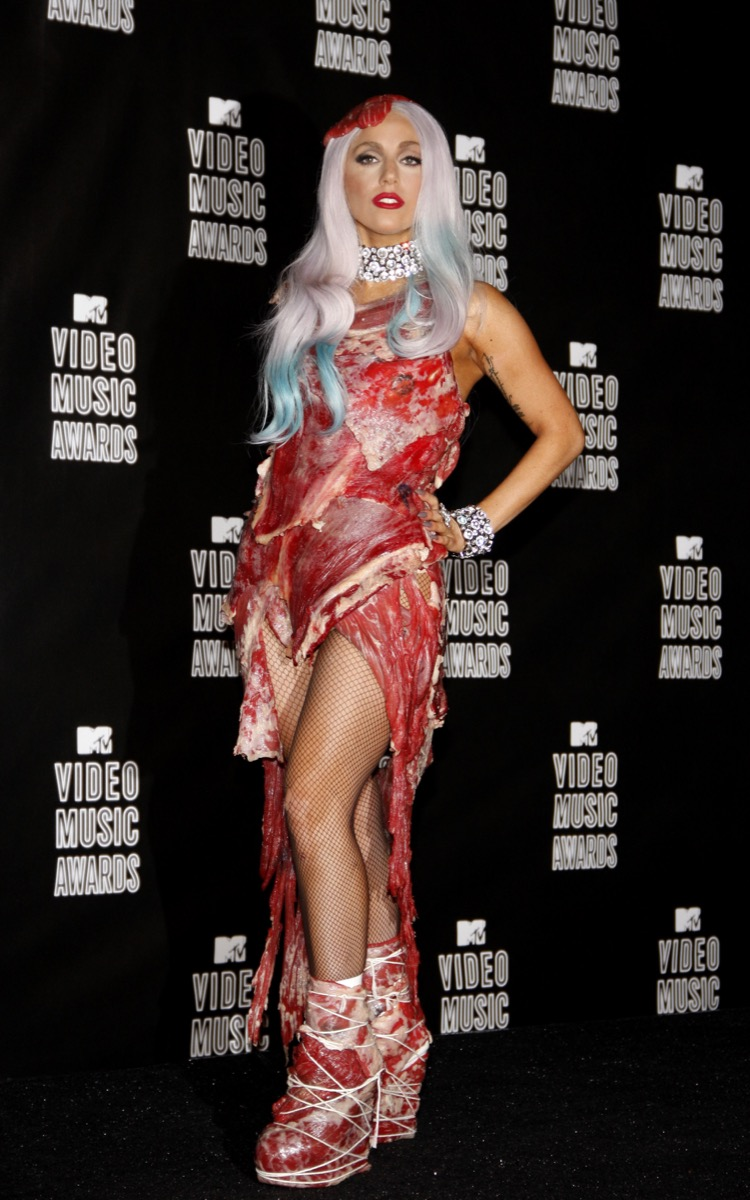 lady gaga meat dress 2010 mtv music video awards