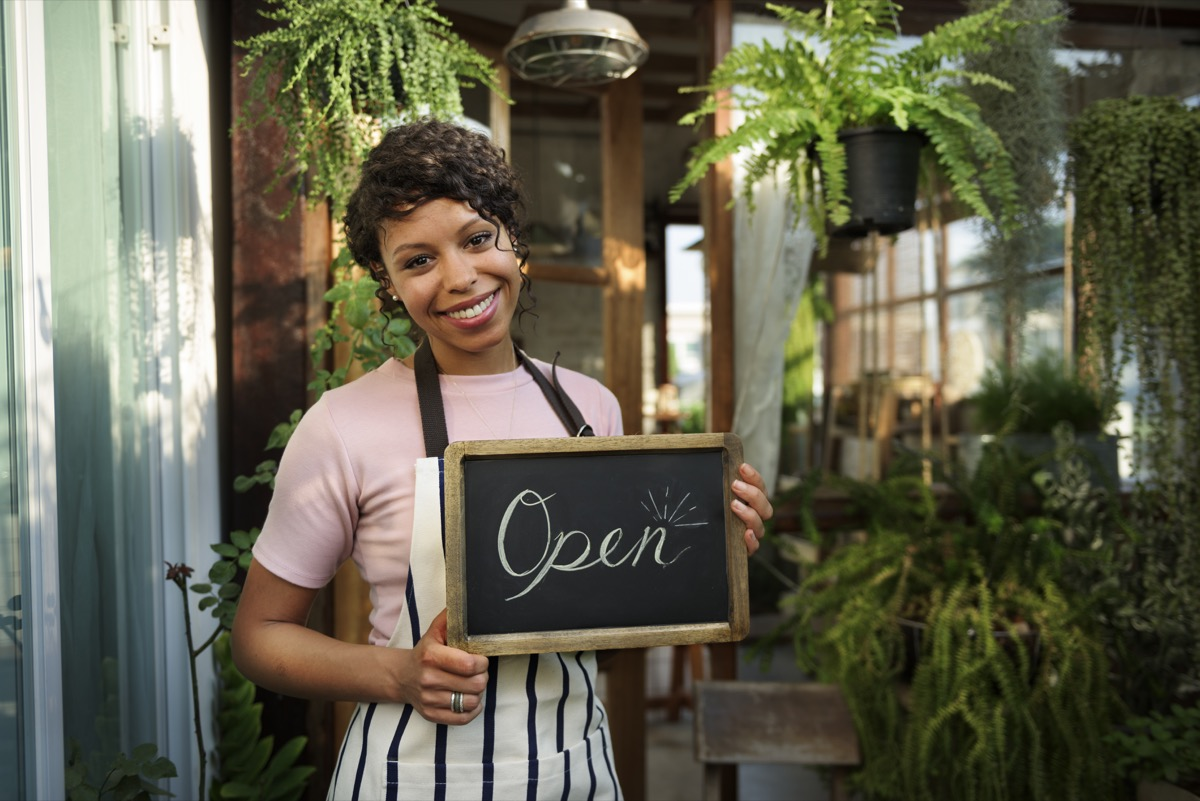 lady opening up her own business